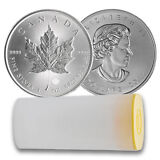 2016 Canadian Silver Maple Leaf Tube - 25 oz Tot .9999 fine (Lot/Roll of 25, BU)