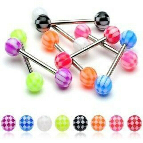 T#164 - 27pc Checker UV Acrylic Tongue Rings 14g Tounge