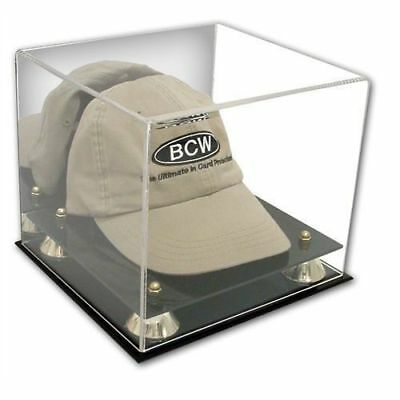 ((1) Baseball Cap Hat ~ Deluxe Acrylic Mirrored Back Display Case Holder ~ New!)
