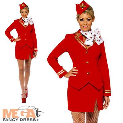 Air Hostess Fancy Dress (Air Hostess Ladies Fancy Dress Virgin Womens Cabin Crew Stewardess Adult Costume)