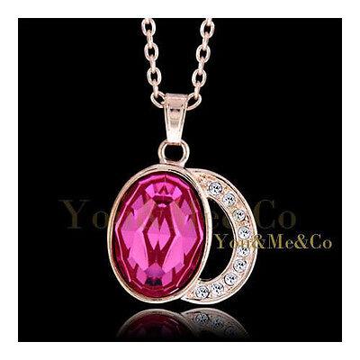 18k Rose Gold EP Brilliant & Oval Cut Sapphire Crystal Pendant covid 19 (Brilliant Cut Pink Sapphire Necklace coronavirus)