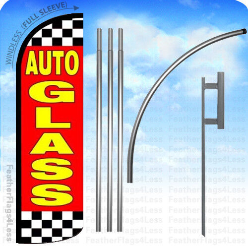 AUTO GLASS - Windless Swooper Flag KIT Feather Banner Sign 15