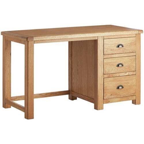 Home Kent 3 Drawer Office Desk - Oak & Oak Veneer