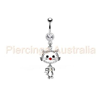 Gem Pussy Cat Belly Button Barbell Navel Ring Bar Dangle Body Piercing Jewellery