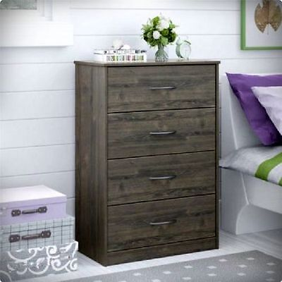 كومودينو جديد BEDROOM STORAGE DRESSER CHEST 4 DRAWER WOOD FURNITURE GRAY RODEO OAK MODERN