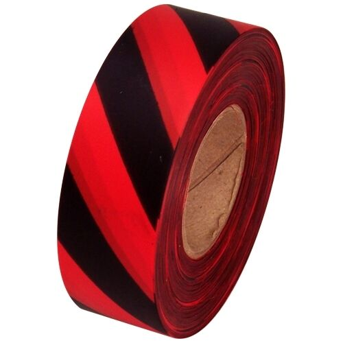 """Red and Black Safety Striped Flagging Tape 1 3/16"""" x 300 ft Roll Non-Adhesive"""