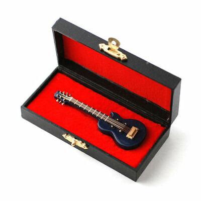 Azul Gibson Guitarra Eléctrica Miniatura Coleccionable 9cm En Madera Estuche De
