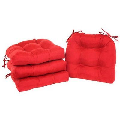 Chair Pads Set of 4 with Ties Cushion Seat Support Kitchen Sofa Patio Red