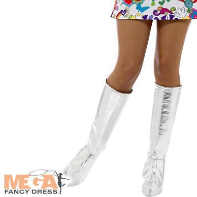 Silver Go Go Boots 1960s 1970s Ladies Fancy Dress Retro Womens Costume Accessory