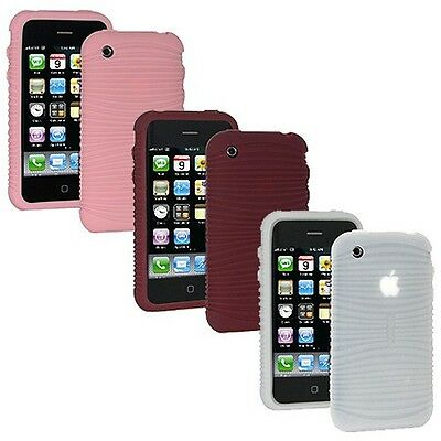 Set of 3 Color AMZER Wave Silicone Soft Skin Jelly Case Cover For iPhone 3G 3G S Iphone 3g Wave