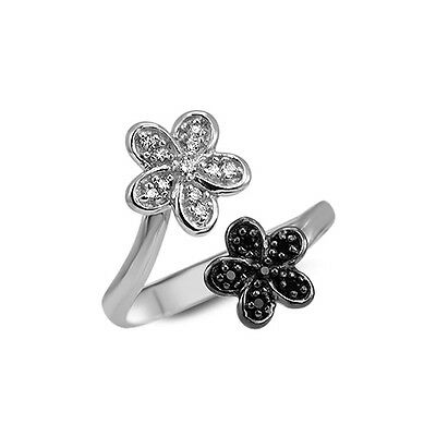 925 Sterling Silver Toe Ring Clear Black Flower Cubic Zirconia Adjustable
