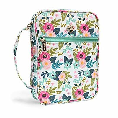 """Large Floral Bible Cover Case for Women Zip Pocket 10""""x7.5""""x2.5"""" Floral Fabric"""