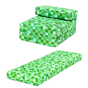 green pixels kids single chair bed sofa z bed seat foam fold out guest futon ebay. Black Bedroom Furniture Sets. Home Design Ideas