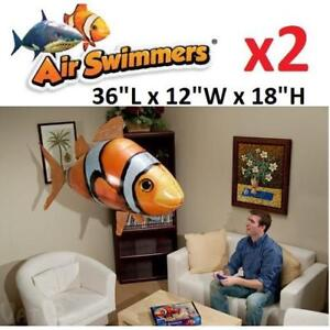 NEW 2 AIR SWIMMERS FLYING CLOWNFISH 481-677 212220832 W/ REMOTE CONTROL INFLATABLE BALOON 2 PACK