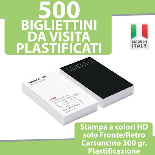 500 BIGLIETTI DA VISITA PLASTIFICATI Stampa FRONTE RETRO COLORI Bigliettini