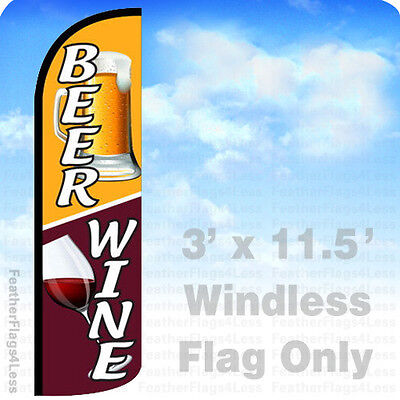 Beer Wine - Windless Swooper Feather Flag Banner Sign 3x11.5 - Q