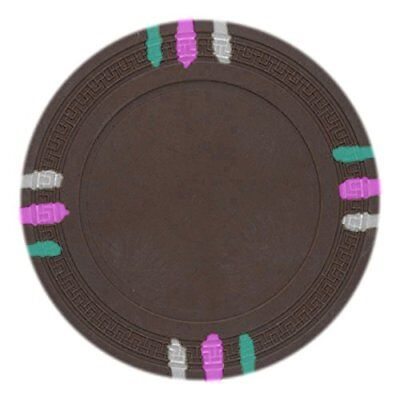 - 12 Stripe Non-Denominated 13.5g Poker Chips, Brown Clay Composite, 50-pack
