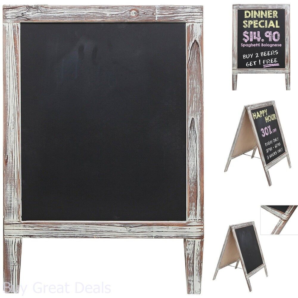 Chalkboards Office Products Rustic Stained Vintaged Wooden Freestanding A Frame Double Sided Chalkboard Sidewalk Sign
