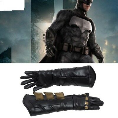 HOT Justice League Batman Bruce Wayne Leather Gloves for Halloween Props