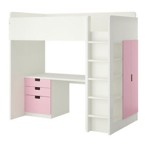 Stuva Ikea Loft bed with desk, three pink drawers and closet