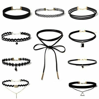 Lady Black Velvet Lace Crystal Bib Choker Collar Necklace 10pcs/set