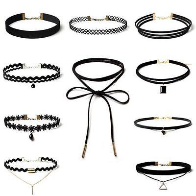Lady Black Velvet Lace Crystal Bib Choker Collar Necklace 10pcs/set