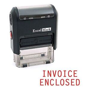 NEW ExcelMark INVOICE ENCLOSED Self Inking Rubber Stamp A1539 | Red Ink