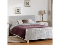 SILVER CRUSHED VELVET DOUBLE BED AND MATTRESS BRAND NEW FAST FREE DELIVERY