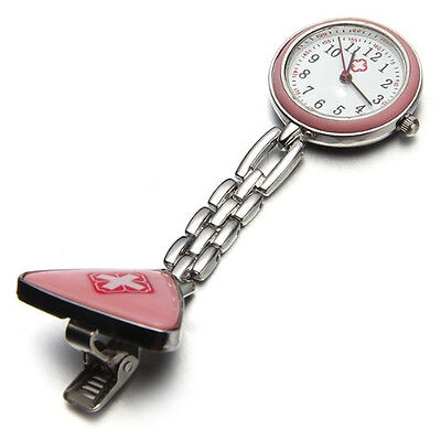 New Pink Nurse Fob Tunic Pocket Watch With Triangle BroochN3