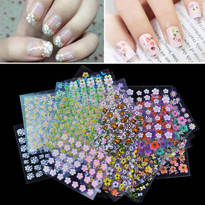 30 Sheets 3D Mix Color Floral Design Nail Art Stickers Decals Manicure Tool New
