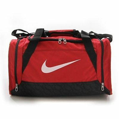 de1ce8747f7 Nike Brasilia 6 Duffel Bag Small GYM Travel Red   Black   White NWT