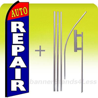 Auto Repair Swooper Flag Kit Feather Flutter Banner Sign 15 Tall - Bz