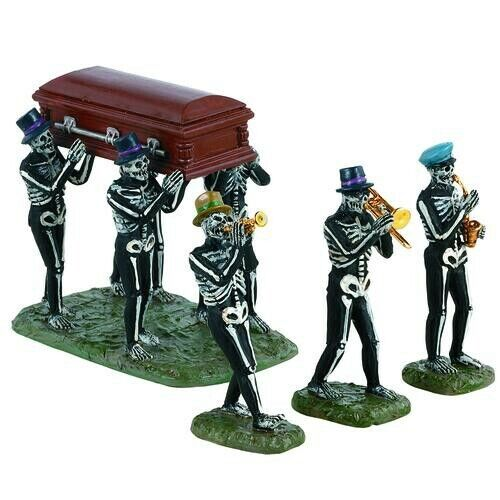 Halloween Lemax Spooky Town, Jazz Funeral Set Of 4  2021 NEW NEVER OUT OF BOX.