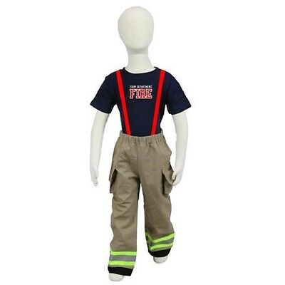 Personalized Toddler Firefighter 2-Piece Outfit with TAN Pants - Fireman Halloween Costumes Toddler