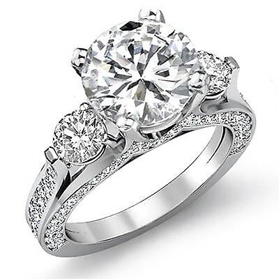New 4.64 Ct. Round Brilliant Excellent Cut Diamond Engagement Ring I, SI2 GIA