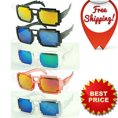 8 Bit Pixel Computer Retro Pixelated Sunglasses Glasses Geek Nerd Party Eyewear - Pixel Nerd Glasses