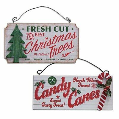 Fresh Cut Christmas Tree & Candy Cane Wood Signs Lot of 2 Rustic Distressed 3-D