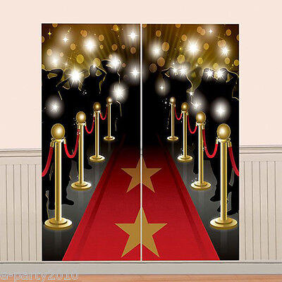 HOLLYWOOD RED CARPET WALL POSTER DECORATING KIT (2pc) ~ Birthday Party - Red Carpet Birthday Party Supplies