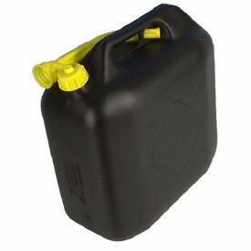 20L BLACK PLASTIC FUEL JERRY CAN PETROL DIESEL WATER 20 LITRE WITH SPOUT