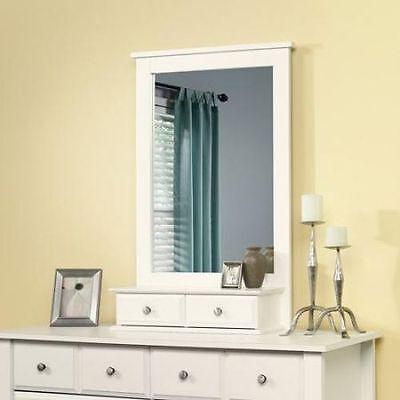 كومودينو جديد Dresser Mirror with 2 Storage Drawers Vanity Bedroom Soft White Color NEW
