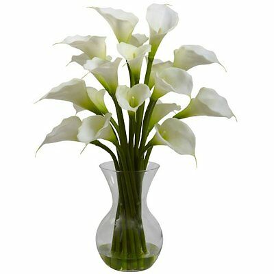 Nearly Natural Calla Lily - Nearly Natural 1299-CR Galla Calla Lily with Vase Arrangement- Cream NEW