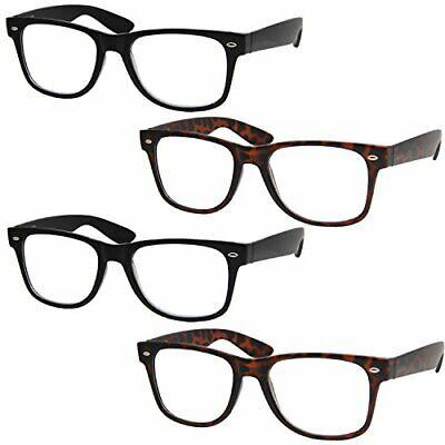 4 Pairs Deluxe Reading Glasses - Standard Fit Spring Hinge (Standard Glasses)