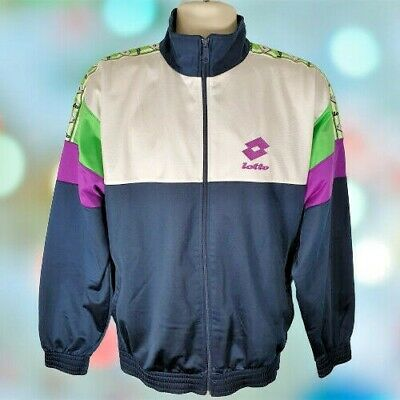 Mens Vintage 90s Lotto Track Sports Training Jacket Tape Arm Logo Colourful XL