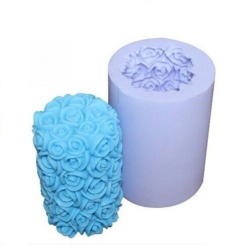 Valentine Wedding 3D Rose Cylinder Silicone Candle DIY Mold Wax Soap Craft Mould