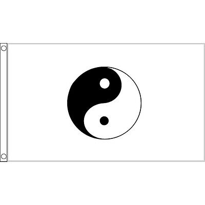 Yin Yang (White) Flag 5Ft X 3Ft Peace China Chinese Banner With 2 Eyelets New