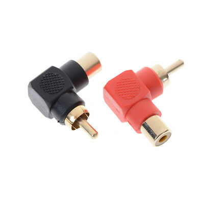 2pcs RCA Right Angle Male to Female Phone Adapters AV Plug Connector 90Degree $B