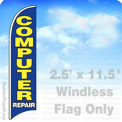2 5X11 5 Windless Swooper Feather Flag Sign   Computer Repair Bb