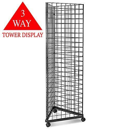 Black Triangle Wire Gridwall Panel Display Rack with Casters