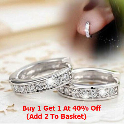 Jewellery - 925 Sterling Silver Crystal Stud Hoop Earrings Fashion Women Jewelry UK Seller