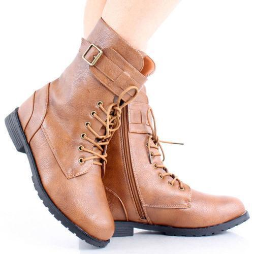 womens lace up ankle boots flat ebay